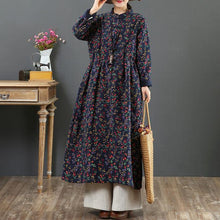 Load image into Gallery viewer, French drawstring linen cotton stand collar clothes For Women Catwalk navy prints Dresses