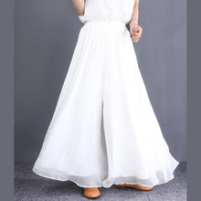 Laden Sie das Bild in den Galerie-Viewer, French elastic waist chiffon clothes For Women plus size white wide leg pants