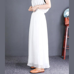 French elastic waist chiffon clothes For Women plus size white wide leg pants