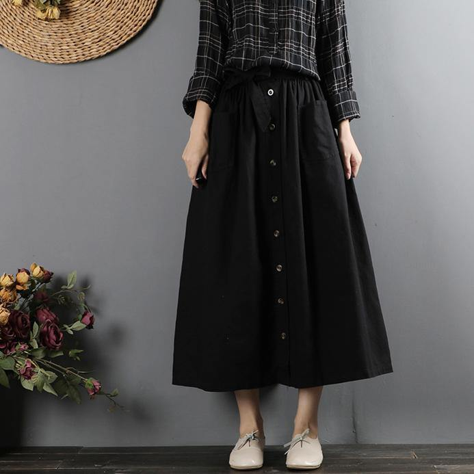 French elastic waist cotton tie waist skirts Inspiration black loose skirts