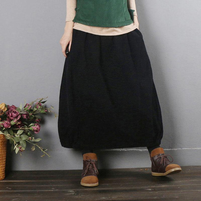 French elastic waist pockets clothes For Women black skirt fall