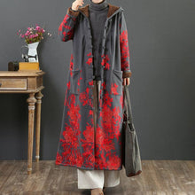 Load image into Gallery viewer, French embroidery Fashion hooded trench coat gray thick cotton outwears