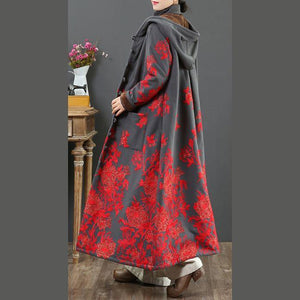 French embroidery Fashion hooded trench coat gray thick cotton outwears