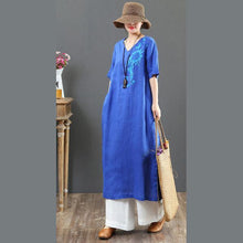 Load image into Gallery viewer, French embroidery linen clothes For Women Omychic Outfits blue A Line Dress Summer