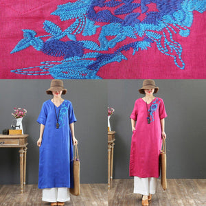 French embroidery linen clothes For Women Omychic Outfits blue A Line Dress Summer