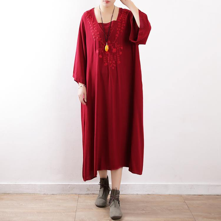 French flare sleeve cotton outfit Fabrics red embroidery Robe Dresses fall