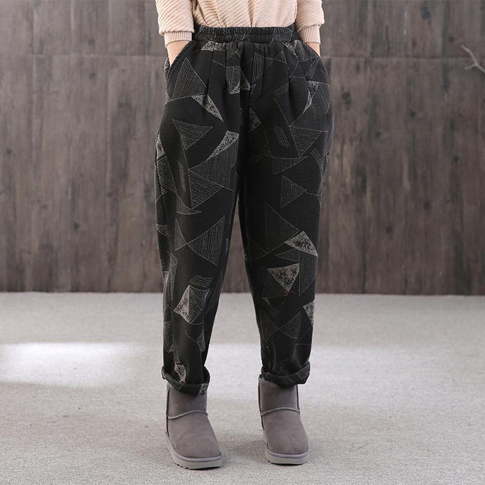 French geometric Camouflage lantern oversize elastic waist crop pants thickGifts harem pants