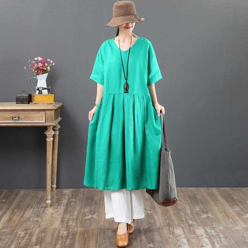 French green linen dress Women Fashion Ideas v neck half sleeve Vestidos De Lino Summer Dresses