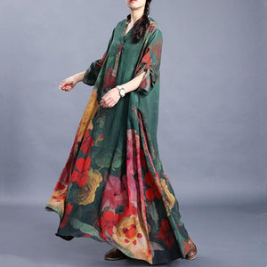 French green print dresses v neck baggy Maxi Dress