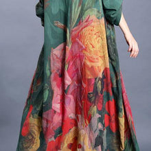 Load image into Gallery viewer, French green print dresses v neck baggy Maxi Dress