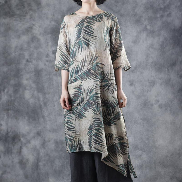 French green print linen clothes o neck asymmetric baggy summer Dresses