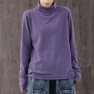 French high neck cotton blouses for women Wardrobes purple top