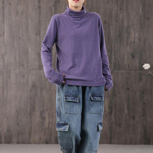 Load image into Gallery viewer, French high neck cotton blouses for women Wardrobes purple top