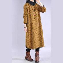 Load image into Gallery viewer, French high neck cotton side open clothes Tunic Tops yellow Plus Size Dress