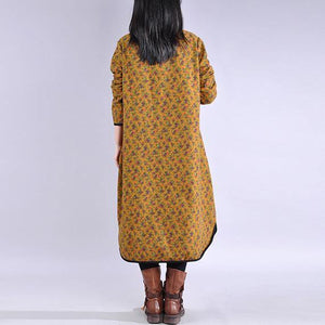 French high neck cotton side open clothes Tunic Tops yellow Plus Size Dress
