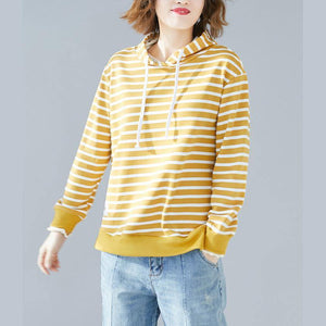 French hooded drawstring cotton Blouse Fine Photography yellow striped Knee blouse
