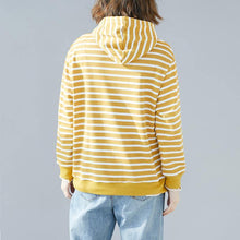 Laden Sie das Bild in den Galerie-Viewer, French hooded drawstring cotton Blouse Fine Photography yellow striped Knee blouse