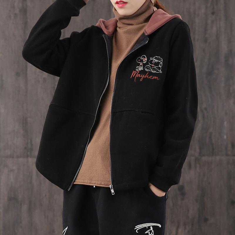 French hooded thick Fine coats black oversized coat