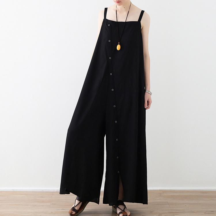French jumpsuit pants cotton clothes For Women Boho design black wide leg pants