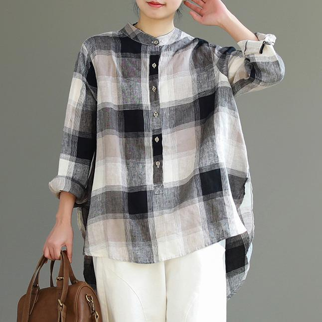 French khaki gray Plaid cotton linen top Fitted Inspiration stand collar Button Down cotton top