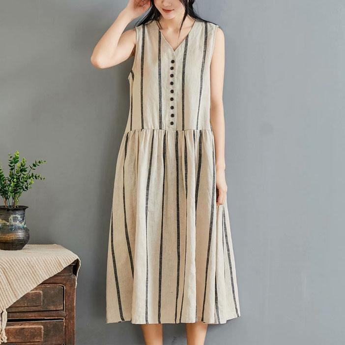 French khaki striped cotton clothes For Women v neck sleeveless long summer Dress
