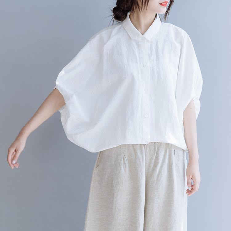 French lapel Batwing Sleeve linen tunic top white daily blouses summer