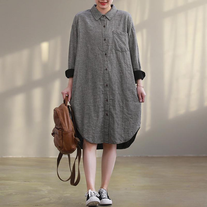 French lapel Button Down quilting clothes plus size Shape gray Plaid cotton Dresses