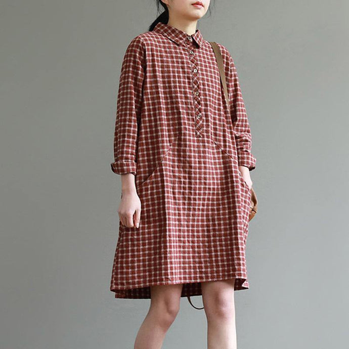 French lapel collar Cotton fall clothes design red plaid Dresses