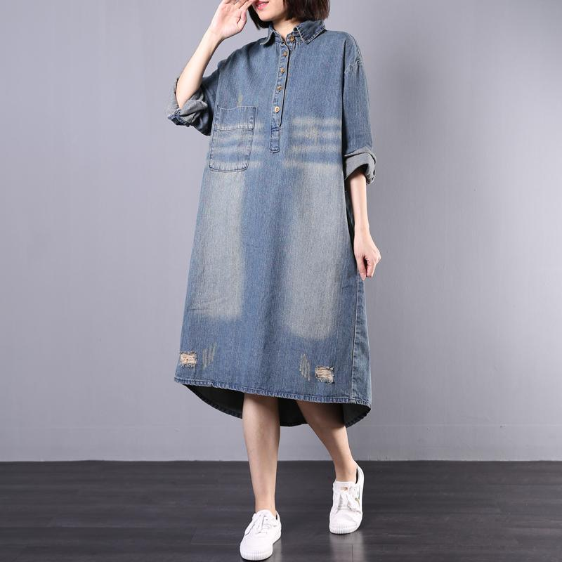 French lapel collar cotton Tunics Catwalk denim blue loose Dresses fall