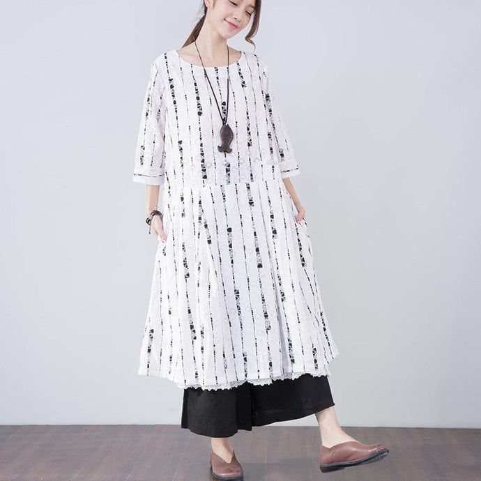 French linen Robes Boho Women Vintage Hollow Casual Three Quarter Sleeve White Dress