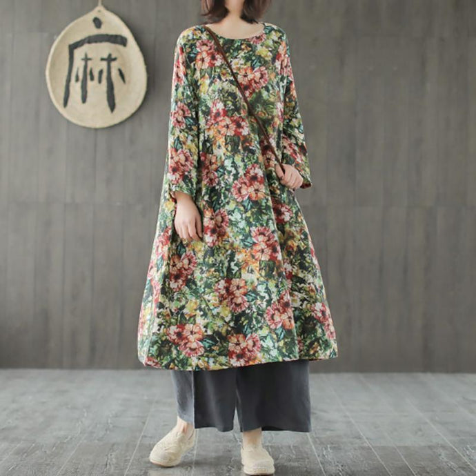 French linen clothes For Women Korea Linen Printing Pullover Spring Midi Dress