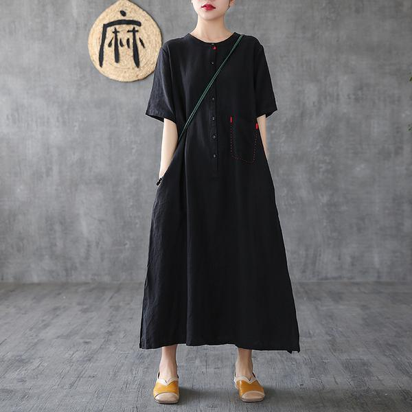 French linen clothes top quality black A-Line Loose Short Sleeve Embroidery Dress