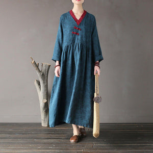 French linen dress stylish v neck patchwork Wardrobes blue asymmetric long Dresses