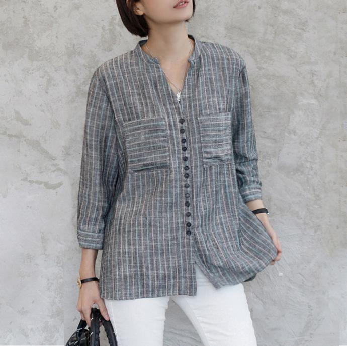 French long sleeve cotton v neck clothes gray striped oversized shirt