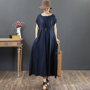 French navy linen clothes Omychic Work o neck pockets A Line Summer Dress
