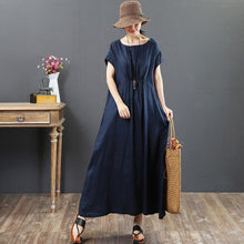 Load image into Gallery viewer, French navy linen clothes Omychic Work o neck pockets A Line Summer Dress