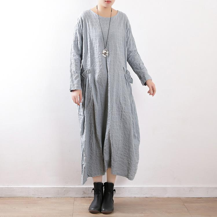 French o neck baggy dress linen cotton clothes plus size Runway light blue Maxi Dresses spring dress
