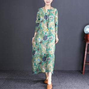 French o neck cotton outfit Drops Design Tunic Tops green print Vestidos De Lino Dresses spring