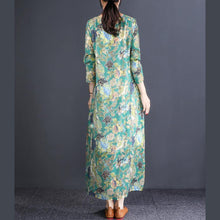 Laden Sie das Bild in den Galerie-Viewer, French o neck cotton outfit Drops Design Tunic Tops green print Vestidos De Lino Dresses spring
