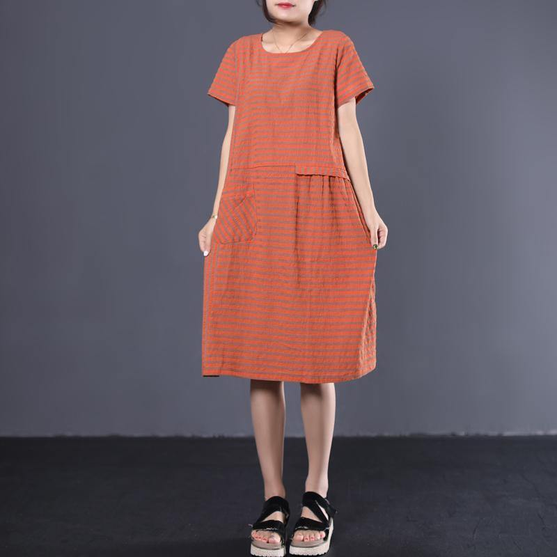 French o neck cotton tunic pattern Sleeve orange striped long Dress summer