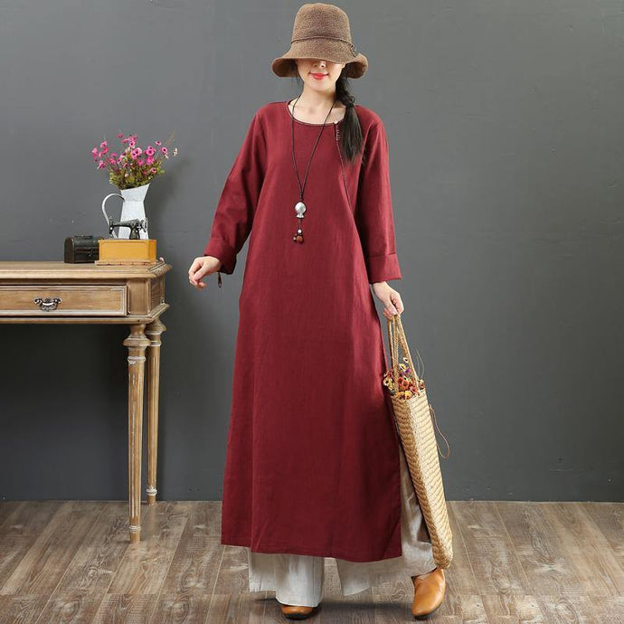 French o neck linen clothes For Women Shirts burgundy Dresses fall