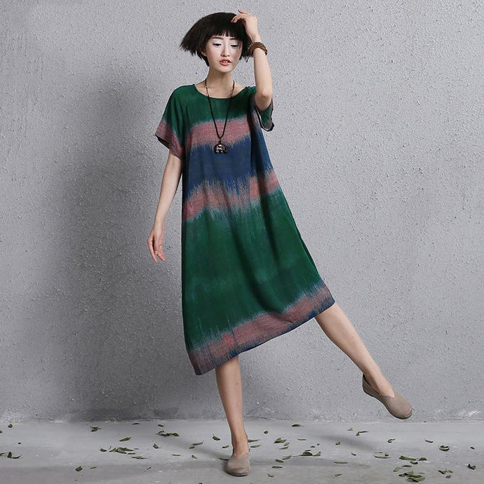 French o neck linen clothes Wardrobes green Dress patchwork color