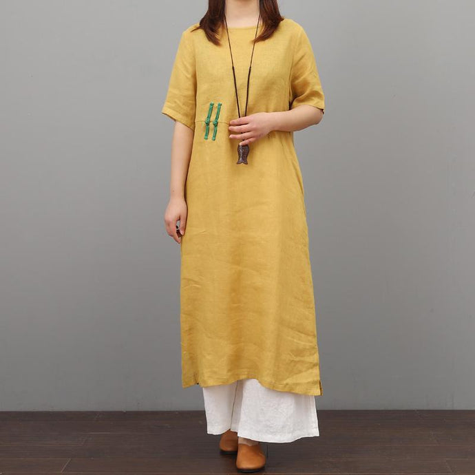 French o neck linen dresses Fabrics Chinese Button yellow Dress summer