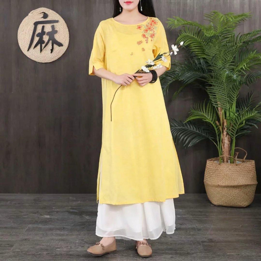 French o neck linen dresses Tunic Tops yellow Dress summer