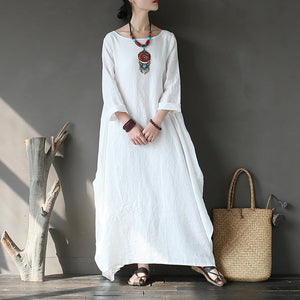 French o neck linen spring clothes For Women Wardrobes white Dress