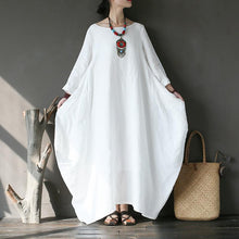 Load image into Gallery viewer, French o neck linen spring clothes For Women Wardrobes white Dress