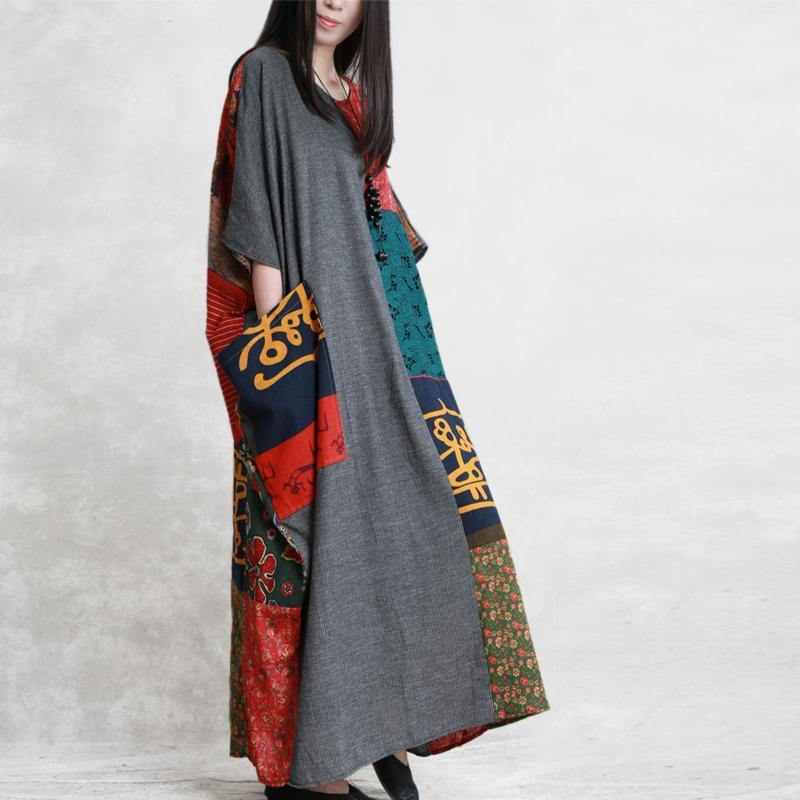 French o neck patchwork linen dresses Photography dark gray Dresses summer