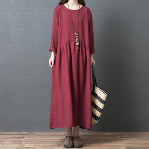 French o neck wrinkled linen Long Shirts Casual Sewing red Traveling Dresses