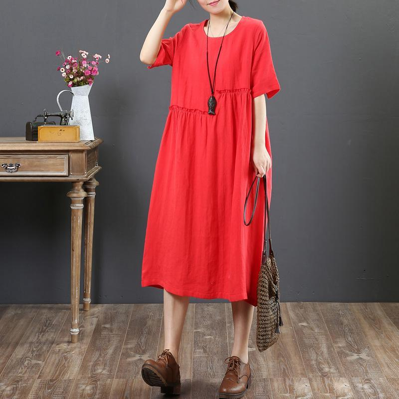 French o neck wrinkled linen Wardrobes Casual Cotton red daily Dress Summer