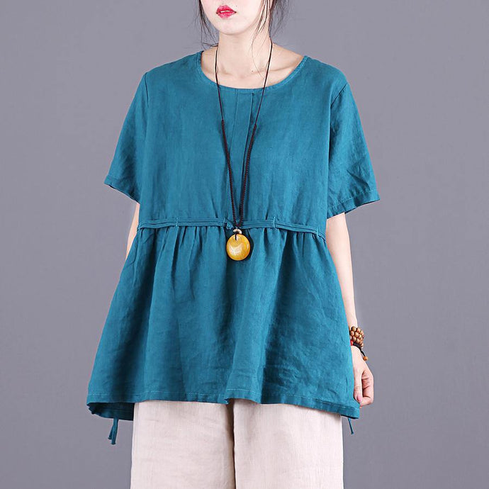 French o neck wrinkled linen clothes Work blue tops summer